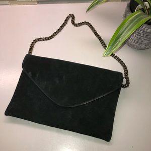 JCrew black velvet evening bag with chain straps